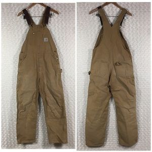 Carhartt Overall Brown Jeans Distressed Sz 34x36